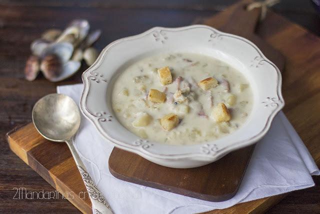 New England Clam Chowder. Sopa de almejas de Nueva Inglaterra.