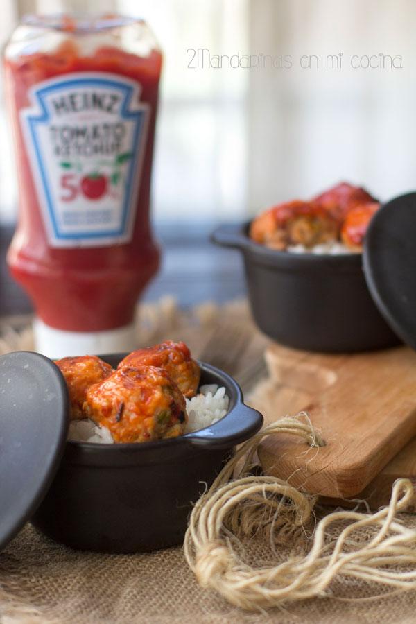 como preparar albondigas pollo ketchup heinz y arroz horno