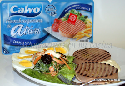 Ensalada de espinacas y zanahorias y Hamburguesas de atún CALVO + SORTEO