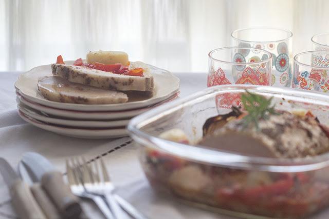 Lomo de cerdo al horno con verduras