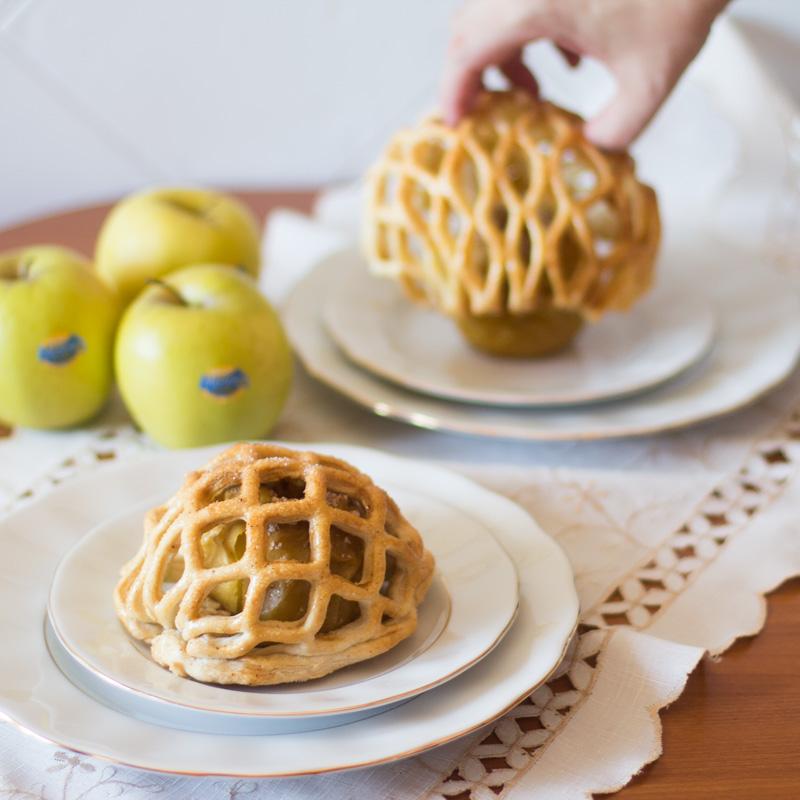 receta de enrejado de hojaldre y manzanas asadas