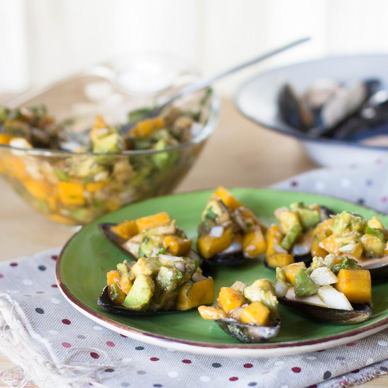 receta de mejillones con vinagreta de mango