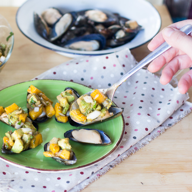 receta de mejillones con vinagreta de mango La Sirena