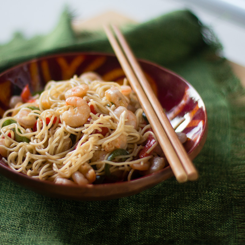 noodles con gambas receta china