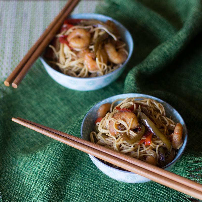 receta china con thermomix, noodles con gambas