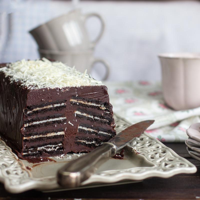 receta de pastel helado de chocolate con galletas de chocolate