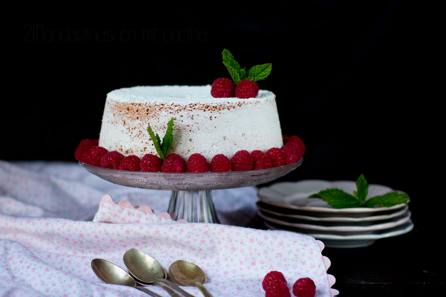como preparar un raspberry angel food cake thermomix