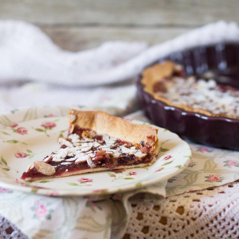 receta de tartaleta de coulis de frambuesas con almendras