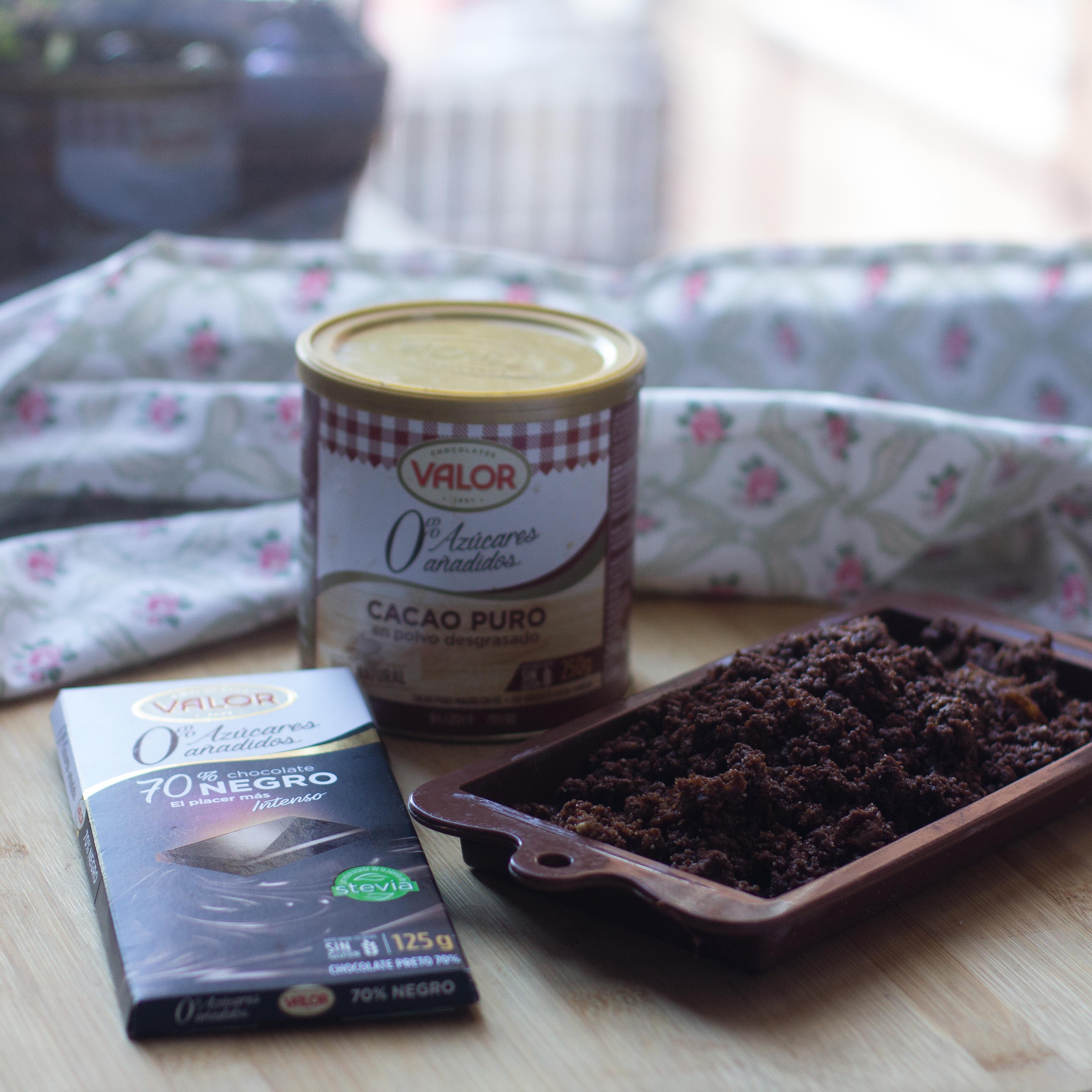 rawnie de chocolate, almendras y dátiles con thermomix