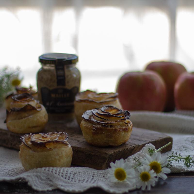 rosas de manzana con mostaza