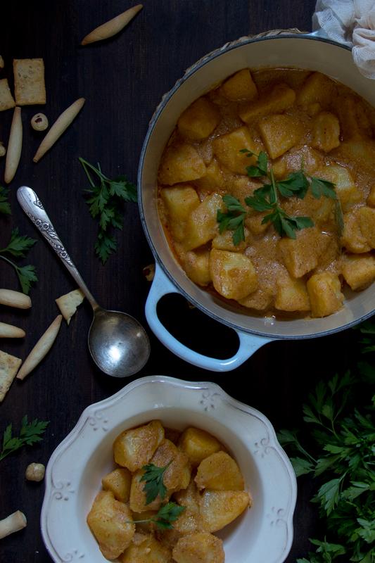 como preparar patatas con avellanas