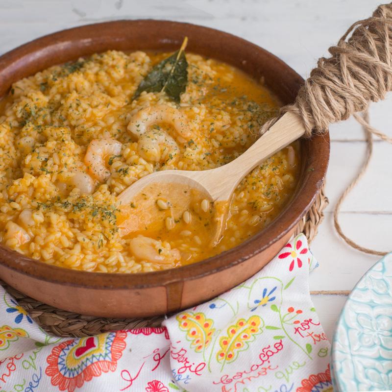 receta en thermomix de un delicioso arroz caldoso con gambas