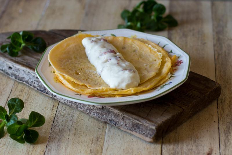 Tortilla rellena de bechamel, paso a paso