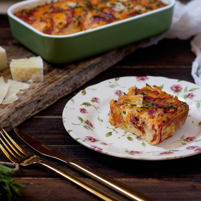 receta de frittata de pimiento morrón y queso de cabra