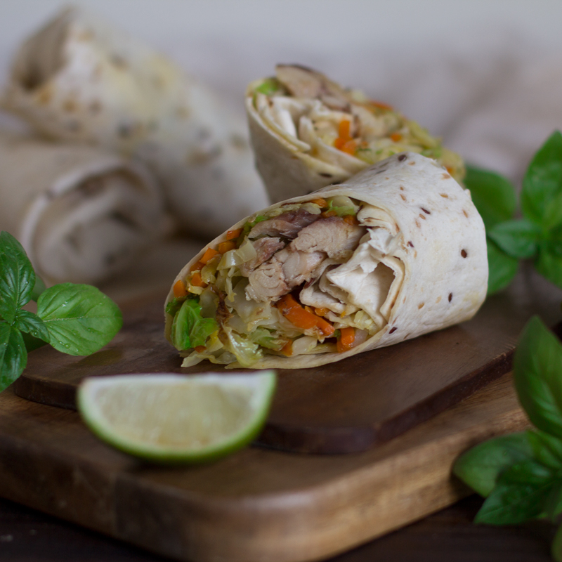 receta de wrap con caballa, verduras y lima