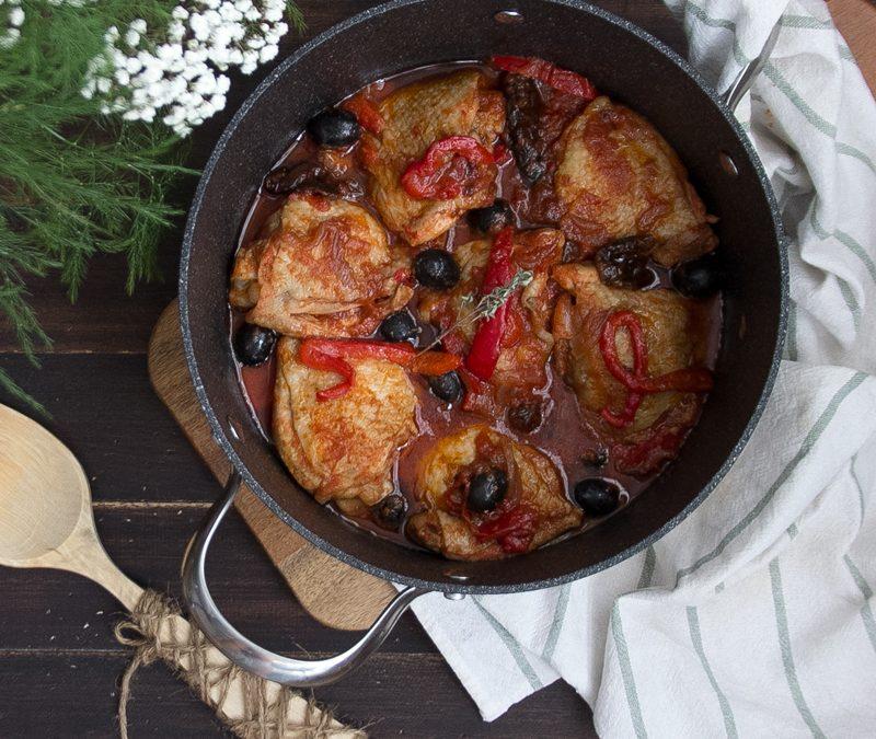 Pollo a la cazuela con aceitunas negras. #ConservaLaLínea. VIDEORECETA