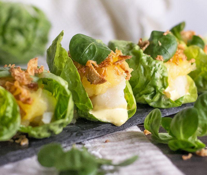 Sam de bacalao con mayonesa de chipotle y jalea de manzana